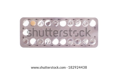 Contraceptive treatment concept - only one pill left - Isolated on white - stock photo