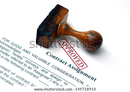 Contract assignment  approved - stock photo