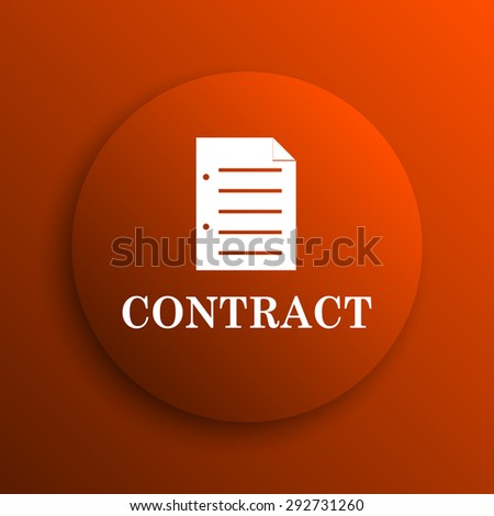 Contract icon. Internet button on orange background  - stock photo