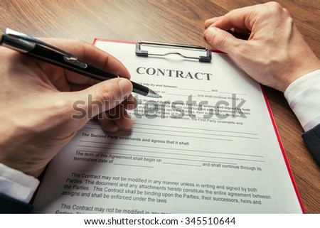 Contract paper - stock photo