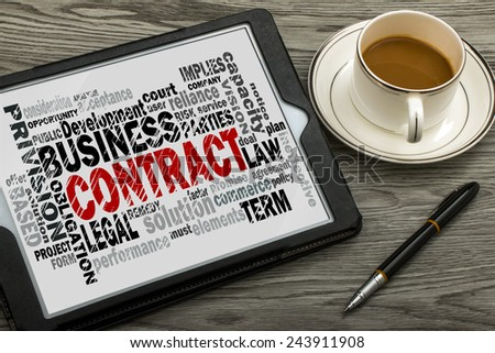 contract word cloud with related tags - stock photo