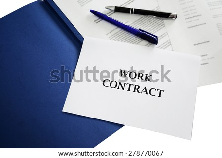 contract / work contract sign with application portfolio background - job, economy, business & career