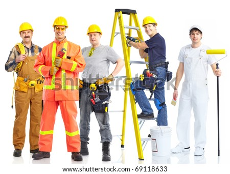 contractors workers people. Isolated over white background