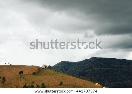 contrast between green mountain and deforestation on mountains in rainy season - stock photo