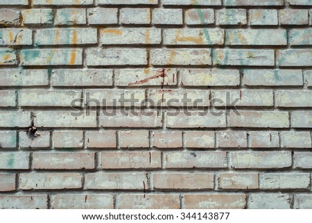 Contrast cold white brick wall texture background.