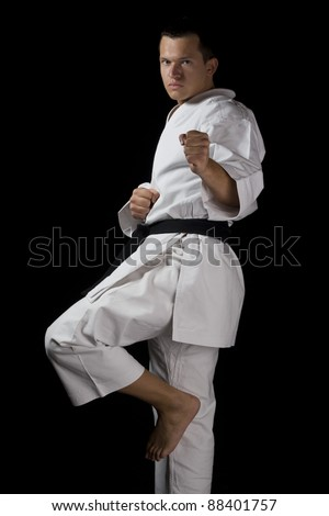 Contrast karate young male fighter black - stock photo
