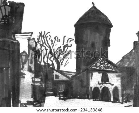 Contrast marker sketch of a street of baltic small town - stock photo