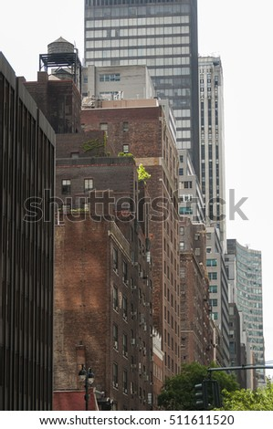 contrasting architectural styles new york city stock photo royalty
