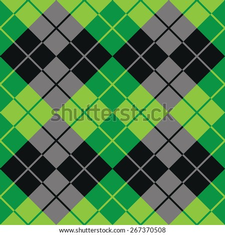 Contrasting argyle pattern in green and black.