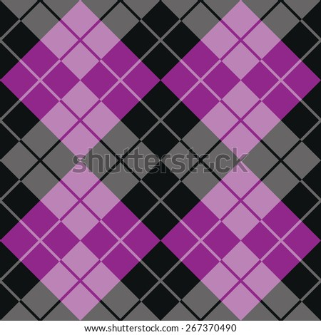 Contrasting argyle pattern in purple and black.