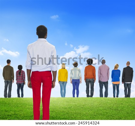Contrasts Standing Out From The Crowd Individuality Outdoors - stock photo