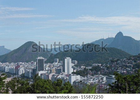 CONTRASTS URBAN - PANORAMA - View of the mountains that surround Copacabana - RIO DE JANEIRO - BUILDINGS THE BOARDWALK, COMMUNITIES IN THE HILLS - stock photo