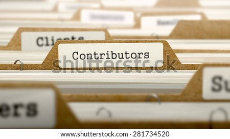 Contributors Concept. Word on Folder Register of Card Index. Selective Focus. - stock photo
