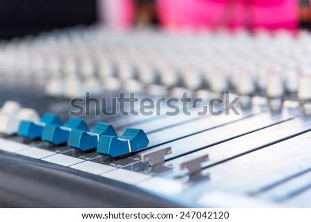 control audio panel. - stock photo