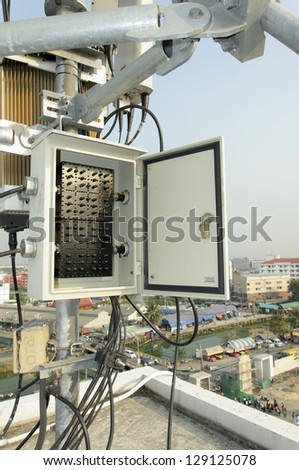 control box of mobile antenna tower - stock photo