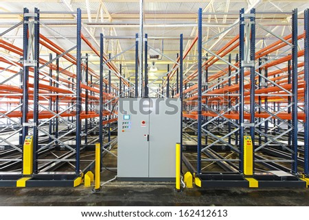 Control box of mobile shelving system in warehouse