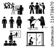 Control Diseases Virus Transmission Prevention Outbreak Stick Figure Pictogram Icons - stock vector