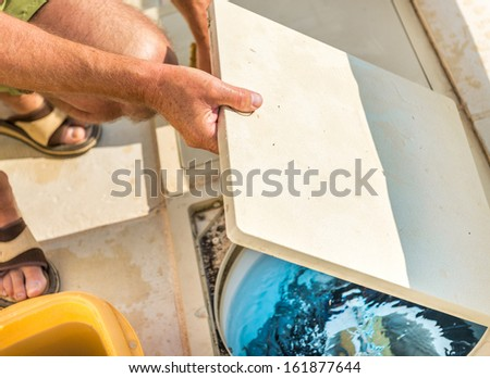 Control filtration system pool - stock photo