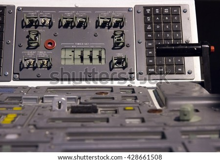 Control mechanism in the cabin space shuttle. Control deck in the cockpit of the shuttle.Close-up view to control the spacecraft.
