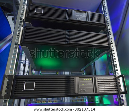Control modules heat power. Network servers in a data center. - stock photo