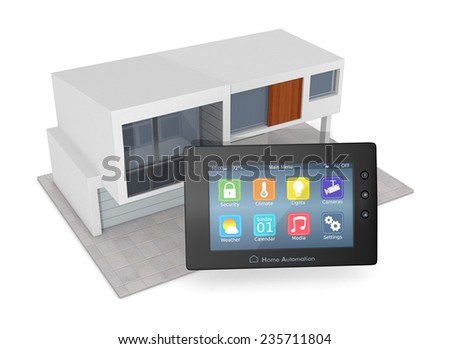 control panel for home automation system with a modern house (3d render) - stock photo
