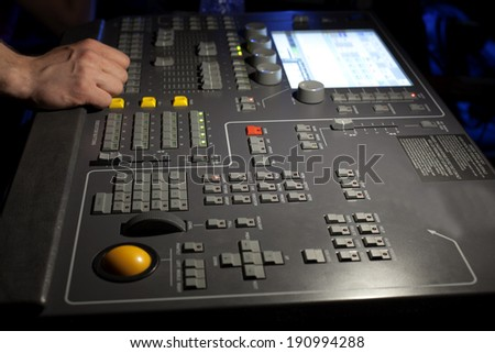 Control panel for stage illumination in the theater or concert hall
