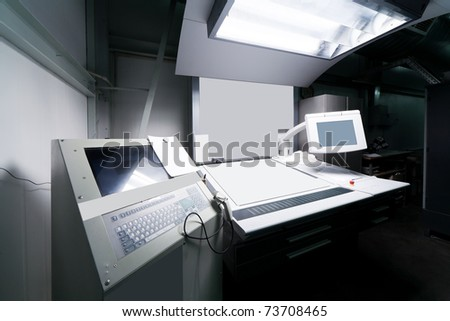 control panel in the modern printing press - stock photo