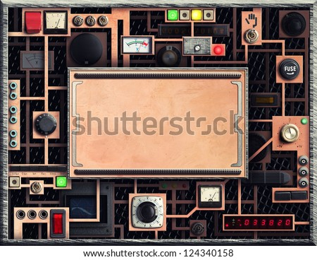 Control panel of a vintage research device - stock photo