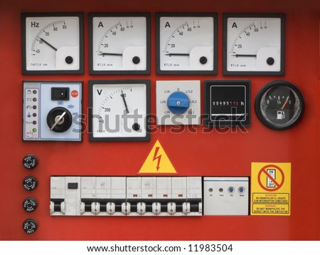 Control panel of fuel power generator.