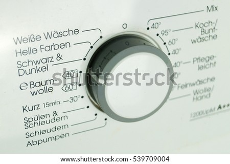 Control Panel with Programs of a Washing Machine