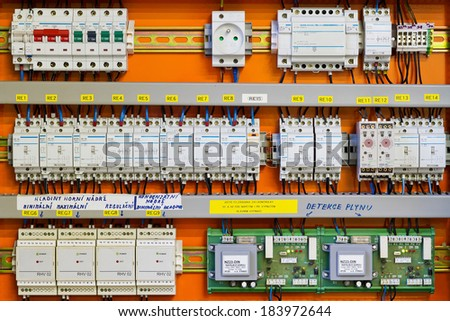 Control panel with static energy meters and circuit-breakers (fuse)  - stock photo