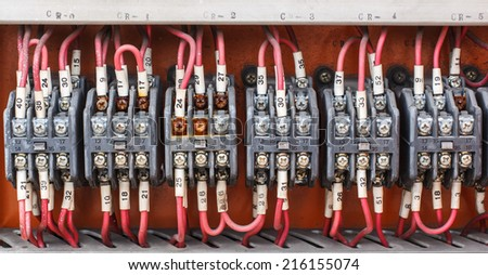 Control panel with wiring - cords old. - stock photo