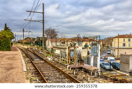 Control post of railway switches - Arles station, France - stock photo