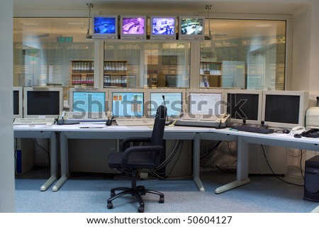 Control room of a nuclear power generation plant - stock photo