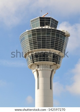 Control tower at Munich Airport, Germany - stock photo