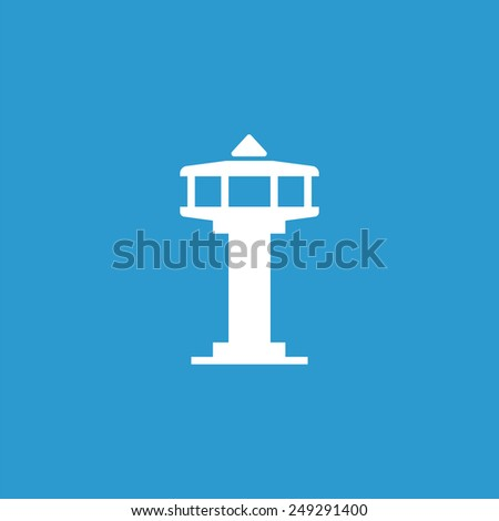control tower icon, isolated, white on the blue background. Exclusive Symbols  - stock photo