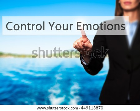 Control Your Emotions -  Successful businesswoman making use of innovative technologies and finger pressing button. Business, future and technology concept. Stock Photo - stock photo