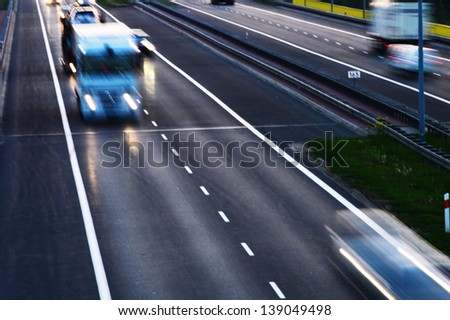Controlled-access highway in Poznan, Poland  - stock photo