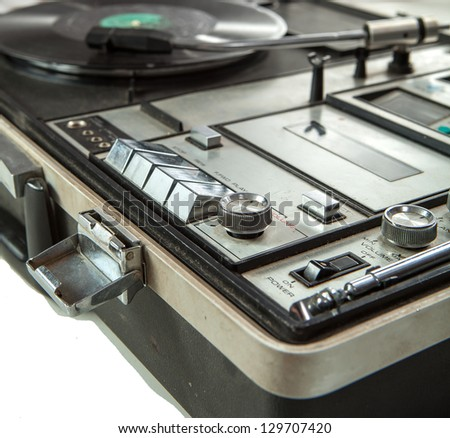 Controls of old dusty vinyl turn table - stock photo
