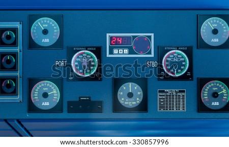 Controls On Bridge Luxury Cruise Ship Stock Photo - Cruise ship controls