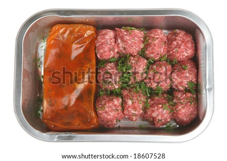 Convenience meal of oven-ready beef meatballs