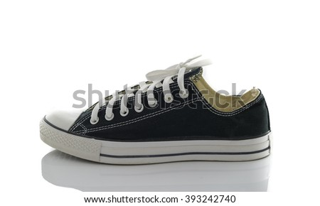 Convenient for sports mens sneakers in black thick fabric on a white background.