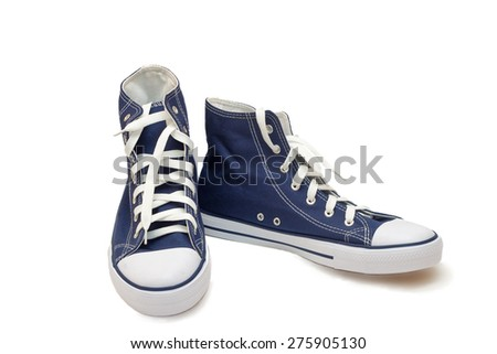 Convenient for sports mens sneakers in dark blue thick fabric. Presented on a white background.
