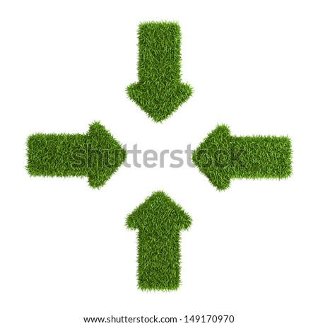 Converging arrows symbol from grass, isolated on white background - stock photo