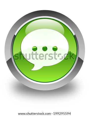 Conversation icon glossy green round button - stock photo