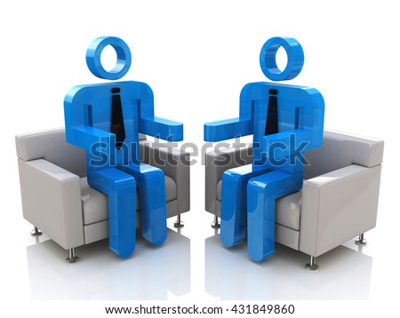 conversation in the design of information related to communication. 3d illustration - stock photo
