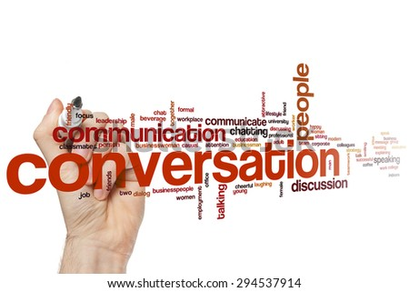 Conversation word cloud concept with communication discussion related tags - stock photo