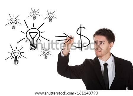 Convert ideas into cash concept on white screen - stock photo