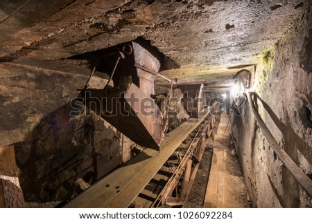 Conveyor belt in the old Soviet concrete plant.