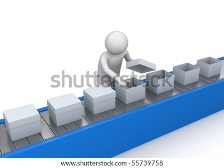Conveyor quality control - Workers collection - stock photo